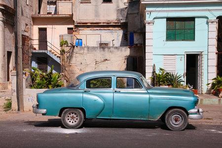 capita: HAVANA, CUBA - FEBRUARY 24, 2011: Classic car parked at the curb in Havana. Cuba has one of the lowest car-per-capita rates (38 per 1000 people in 2008).