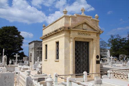 manuel: HAVANA, CUBA - FEBRUARY 24, 2011: Grave of Carlos Manuel Cespedes in Havana. Cespedes was President of Cuba in 1933 and is considered Cuban Revolution hero.