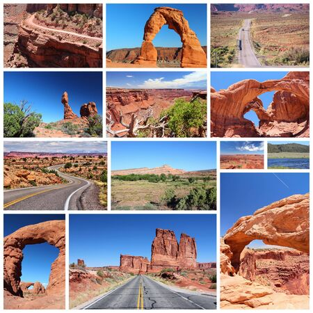 national parks: Utah landscapes photo collage - travel collection with national parks (Arches and Canyonlands).