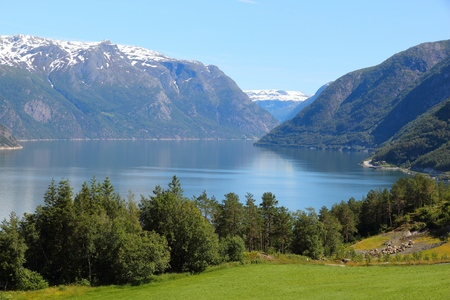 hardangerfjord: Norway fiord landscape - part of Hardanger Fjord called Sorfjord. Morning view.