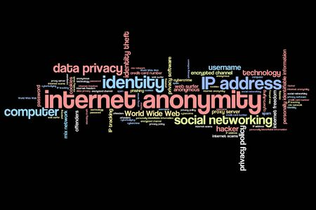 proxy: Internet anonymity issues and concepts word cloud illustration. Word collage concept.