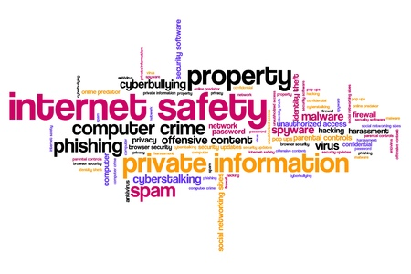 internet safety: Internet safety issues and concepts word cloud illustration. Word collage concept.