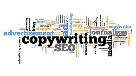 pr: Copywriting - marketing industry issues and concepts tag cloud illustration. Word cloud collage concept.