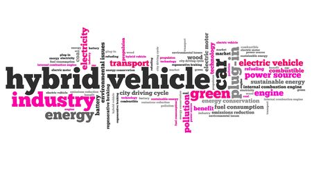 hybrid: Hybrid vehicle - transportation issues and concepts tag cloud illustration. Word cloud collage concept.