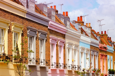 colorful vintage: London, United Kingdom - colorful houses in Camden Town district. Filtered color style. Editorial