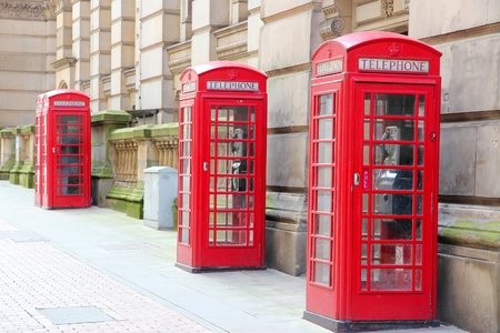 red telephone: Birmingham red telephone boxes. West Midlands, England. Editorial