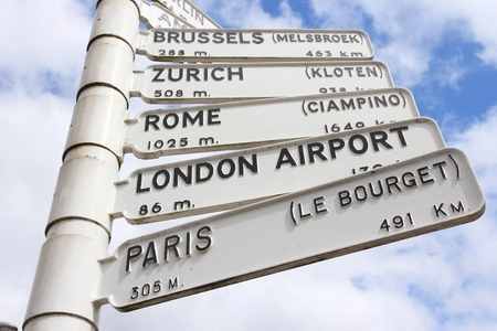 direction sign: Airport destinations in Europe - old sign at Birmingham Airport, UK. Directions to Brussels, Zurich, Rome, London and Paris.