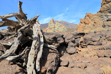natural landmark: Pico del Teide - volcano in Tenerife. Natural landmark and lava field.