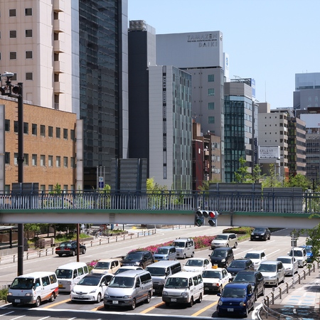 capita: NAGOYA, JAPAN - APRIL 28, 2012: People drive in heavy traffic in Nagoya, Japan. With 589 vehicles per capita, Japan is among most motorized countries worldwide, which causes heavy traffic. Editorial