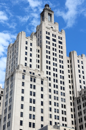 artdeco: PROVIDENCE, RI - JUNE 8, 2013: 111 Westminster Street (formerly Bank of America Building) in Providence, Rhode Island. At 428 ft (130 m) it is the tallest building in Providence. Editorial