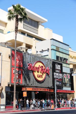 hardrock: LOS ANGELES, USA - APRIL 5, 2014: People visit Hard Rock Cafe in Hollywood. As of 2015 there are 191 Hard Rock locations around the world. Editorial