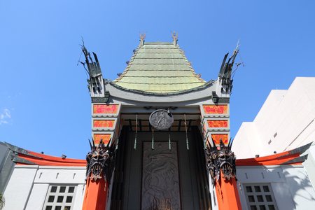 hollywood: LOS ANGELES, USA - APRIL 5, 2014: TCL Chinese Theatre in Hollywood. Formerly Graumans Chinese Theatre, the famous landmark dates back to 1926.