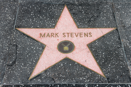 walk of fame: LOS ANGELES, USA - APRIL 5, 2014: Mark Stevens star at famous Walk of Fame in Hollywood. Hollywood Walk of Fame features more than 2,500 stars with inscribed celebrity names. Editorial