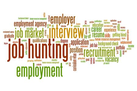 job hunting: Job search issues and concepts word cloud illustration. Word collage concept.