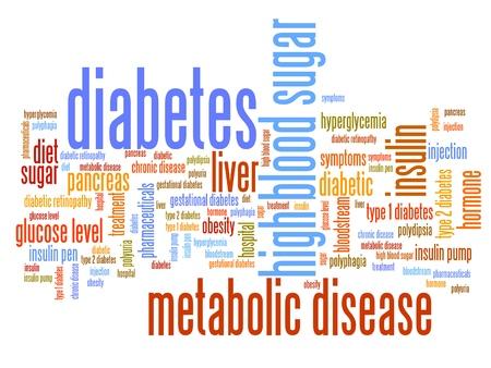 diabetes: La diabetes conceptos enfermedad nube de la palabra ilustración. Palabras concepto de collage. Foto de archivo