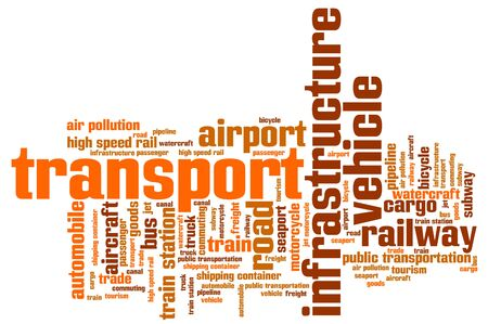 freight transportation: Transport industry issues and concepts word cloud illustration. Word collage concept.