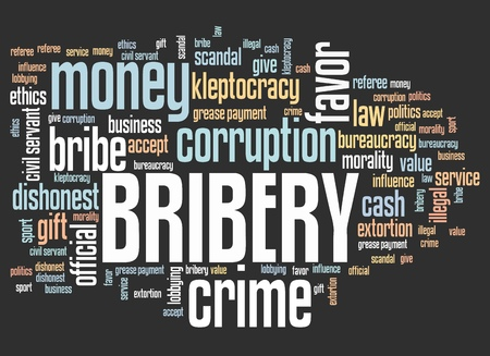 lobbying: Bribery - corruption issues and concepts tag cloud illustration. Word cloud collage concept.