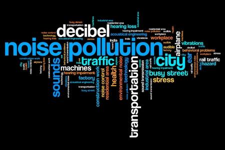 ruido: La contaminación acústica - problemas de ruido urbano y conceptos palabra nube ilustración. Collage concepto Palabra. Foto de archivo