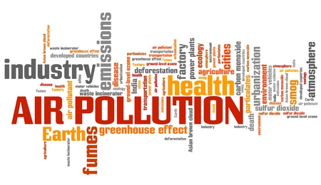 environmental hazard: Air pollution - environmental issues and concepts word cloud illustration. Word collage concept.