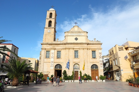 inhabitants: CHANIA, GREECE - MAY 23, 2013: People visit Chania, Crete. Chania is the 2nd largest municipality in Crete (108,642 inhabitants in 2011). Chania was top destination in Greece in 2013 (Tripadvisor). Editorial