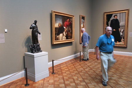 visitors area: CHICAGO, USA - JUNE 28, 2013: Visitors admire art at famous Art Institute of Chicago. It is the 2nd largest art museum in the US with 1 million square feet of area. Editorial