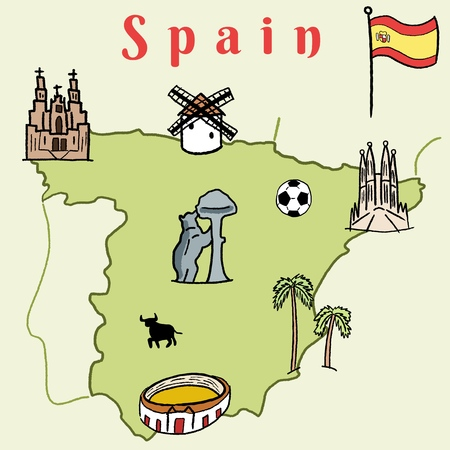 Spain landmarks map - cute doodle vector graphics with Madrid, Barcelona, Santiago de Compostela, Seville and football. Illustration