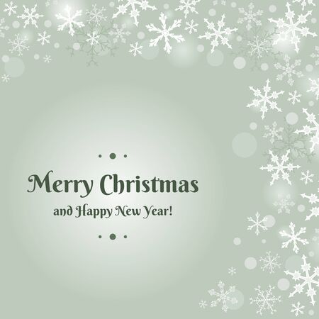 copyspace: Merry Christmas card design with snow flakes. Sample text copyspace.