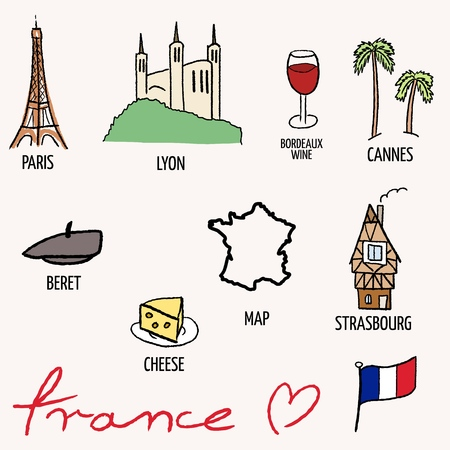 strasbourg: France landmarks vector set - Paris Eiffel Tower, Lyon, Cannes, Strasbourg, cheese, wine and beret.