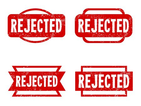 rejection: Rejected rubber stamps. Grungy red stamp text. Illustration