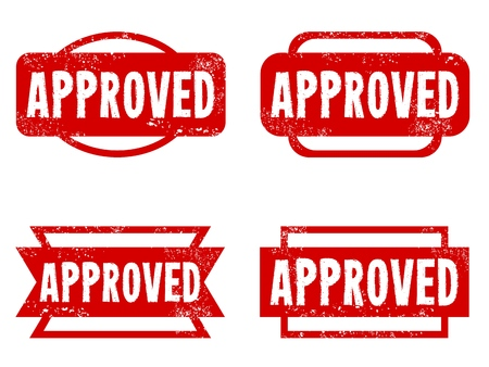 approved: Approved rubber stamps. Grungy red stamp text. Illustration