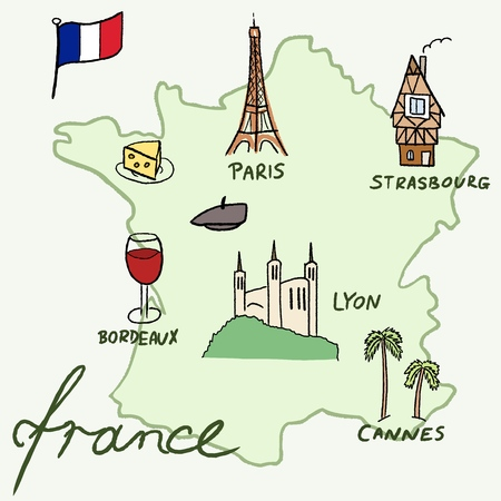 strasbourg: France landmarks vector map - Paris, Lyon, Cannes, Strasbourg, cheese, wine and beret.