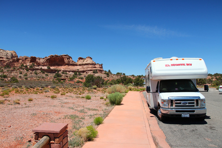 canyonlands national park: CANYONLANDS, UNITED STATES - JUNE 22, 2013: RV truck parked in Canyonlands National Park, USA. More than 452,000 people visited Canyonlands NP in 2012.