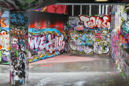 southbank: LONDON, UK - MAY 14, 2012: Legal graffiti art in London. Legal graffiti and skate area in Southbank made the opportunity to lower illegal urban art and vandalism. Editorial