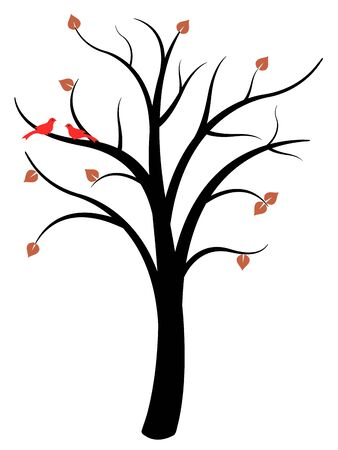 Simple tree vector - natural symbol illustration. Autumn tree with red birds.