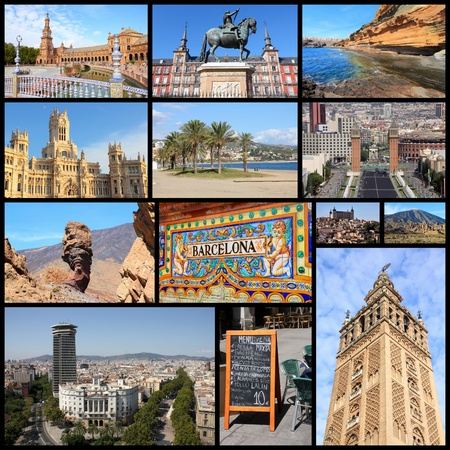 travel collage: Travel collage from Spain. Collage includes famous places like Madrid, Barcelona, Toledo, Seville, Malaga and Tenerife.