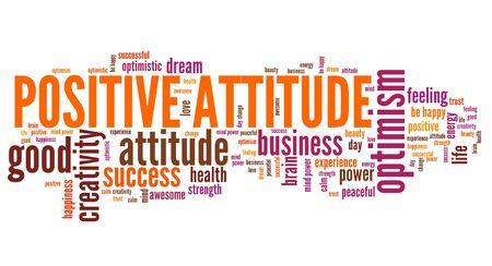 optimismo: Positivo nube de la palabra actitud. El optimismo de éxito en la vida.