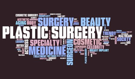 beauty surgery: Plastic surgery - beauty improvement. Word cloud concept. Stock Photo
