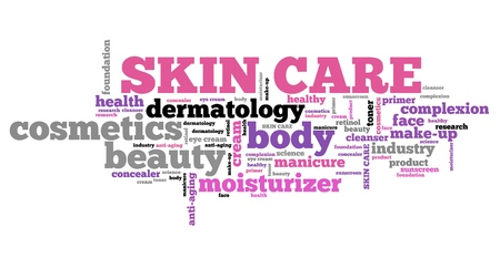 skin care products: Skin care products - beauty industry. Word cloud concept. Stock Photo