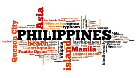 filipino: Philippines tag cloud illustration. Country word collage.