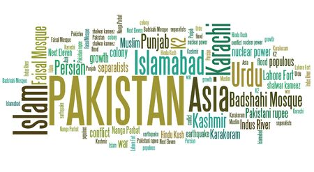 urdu: Pakistan tag cloud illustration. Country word collage.