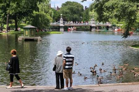 boston common: BOSTON, USA - JUNE 9, 2013: People visit famous Boston Common in Boston. It is the oldest city park in the United States, founded in 1634.