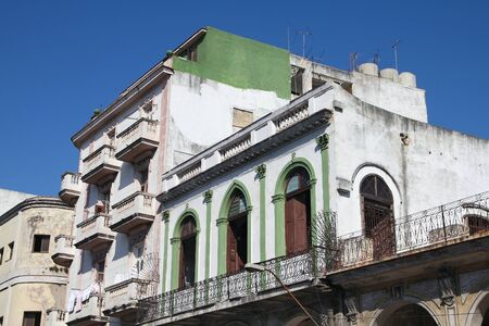 townhouse: Havana, Cuba - old townhouse with colonial decorations. Stock Photo