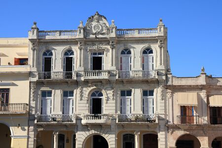 vieja: Havana, Cuba - old townhouse with colonial decorations at Plaza Vieja. Stock Photo