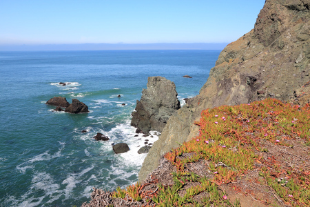 marin: California coast - Golden Gate National Recreation Area in Marin County. Point Bonita view.