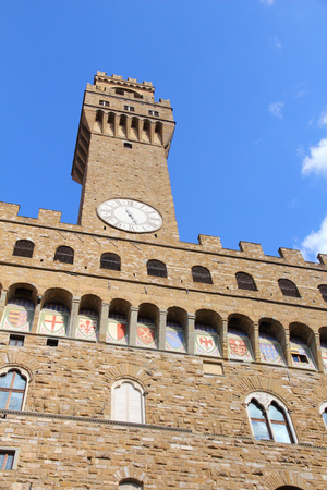 romanesque: Florence - Palazzo Vecchio. Old town romanesque architecture in Tuscany, Italy.