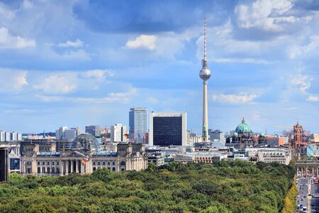 city park skyline: Berlin, Germany. Capital city skyline with Tiergarten park and the TV tower.