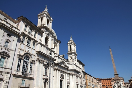 navona: Rome, Italy - Sant Agnese in Agone church in Piazza Navona. Baroque facade.