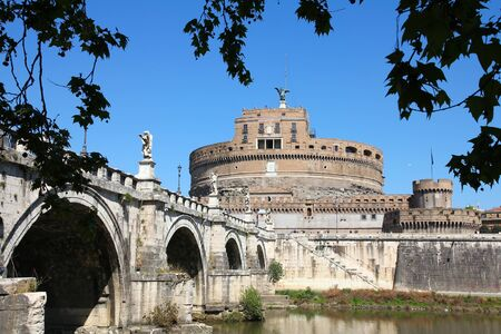 tevere: Rome, Italy. View of Sant Angelo Bridge and Castle. River Tevere.