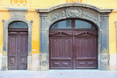 pecs: Pecs, Hungary. City in Baranya county. Decorative doors. Stock Photo