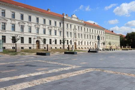 pecs: Pecs, Hungary. City in Baranya county. Pecs municipal building on Kossuth Square.